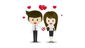 Nette Paare im Liebeshändchenhalten, Zeichentrickfilm-Figuren stock footage