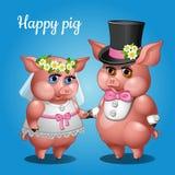 Nette Paarschweine in den Klagen, in der Braut und im Bräutigam lizenzfreie abbildung