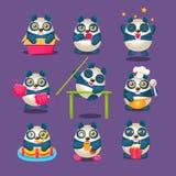 Nette Panda Emoji Collection With Humanized-Karikatur-Panda Character Doing Different-Alltagssachen Lizenzfreie Stockbilder