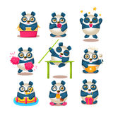Nette Panda Emoji Collection With Humanized-Karikatur-Panda Character Doing Different-Alltagssachen Lizenzfreie Stockbilder