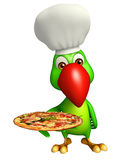 nette Papageienzeichentrickfilm-figur mit Pizza- und Chefhut Lizenzfreies Stockbild