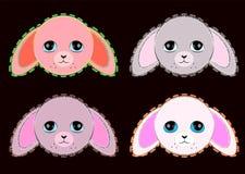 Nette Pastellfarben rosa und graue Kaninchen lizenzfreie abbildung