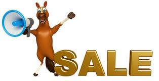 Nette Pferdezeichentrickfilm-figur mit Lautsprecher und Verkauf unterzeichnen Lizenzfreie Stockfotos