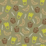 Nette Plätzchen und anderes nahtloses Muster der Nahrungsmittel lizenzfreie abbildung