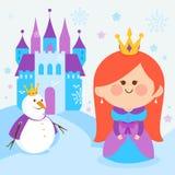 Nette Prinzessin in einer schneebedeckten Landschaft mit einem Schloss und einem Schneemann Stockbilder