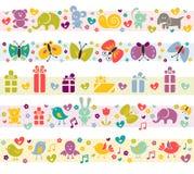 Nette Ränder mit Schätzchenikonen. Stockbilder