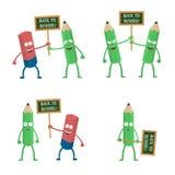 Nette Radiergummi- und Bleistiftcharaktere, die Plakat zurück zu Schulvektorpaaren halten stock abbildung