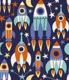 Nette Raketen, Sterne und Mond lizenzfreie abbildung