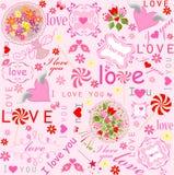 Nette reizende Tapete mit Herzen, Süßigkeit, Rahmen, Blumensträußen und Wünschen vektor abbildung