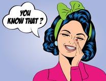 Nette Retro- Frau der Pop-Art in den Comics reden das Lachen an Lizenzfreies Stockbild