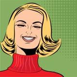 Nette Retro- Frau der Pop-Art in den Comics reden das Lachen an Stockbild