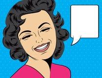 Nette Retro- Frau der Pop-Art in den Comics reden das Lachen an Lizenzfreie Stockfotografie