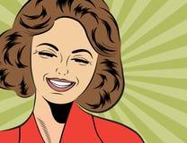 Nette Retro- Frau der Pop-Art in den Comics reden das Lachen an Lizenzfreies Stockfoto