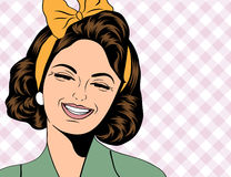 Nette Retro- Frau der Pop-Art in den Comics reden das Lachen an Lizenzfreie Stockbilder