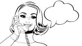 Nette Retro- Frau der Pop-Art in den Comics reden die Unterhaltung am Telefon an Lizenzfreies Stockbild