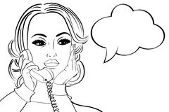 Nette Retro- Frau der Pop-Art in den Comics reden die Unterhaltung am Telefon an Stockbild