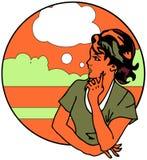 Nette Retro- Frau sprechen Emblem vektor abbildung