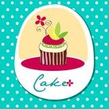Nette Retro- Kuchenkarte lizenzfreie abbildung