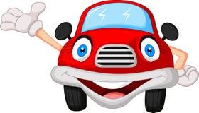 Nette rote Autozeichentrickfilm-figur Stockbild