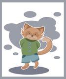 Nette rote Katze in einer grünen Strickjacke lizenzfreie abbildung