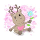 Nette Rotwild mit Herzkarikatur Lizenzfreies Stockbild