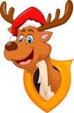 Nette Rotwildweihnachtskarikatur Stockfotografie