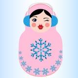 Nette russische matryoshka Puppe, die ein buntes Herz hält Wintervektorillustration Stockfoto