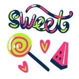 Nette süße Illustration lolipop Wassermelone und Herzen Stockfotos