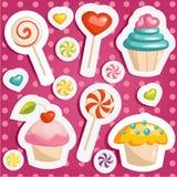 Nette Süßigkeitaufkleber Stockfoto