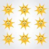 Nette Sammlung Sonnen mit glücklichen smiley Stockfotografie