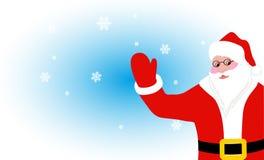 Nette Santa Claus grüßt auf dem Hintergrund von Schneeflocken Stockbild