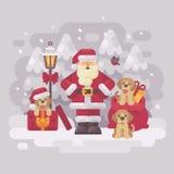 Nette Santa Claus mit drei Welpen und einem Geschenkesack, der in einer weißen Winterwaldweihnachtsgrußkarte steht Lizenzfreies Stockfoto
