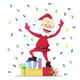 Nette Santa Claus mit Geschenken Einladung an eine Party Bunter Confetti Für Spaß Lizenzfreie Stockfotos
