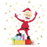 Nette Santa Claus mit Geschenken Einladung an eine Party Bunter Confetti Für Spaß Stockfotos