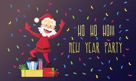 Nette Santa Claus mit Geschenken Einladung an eine Party Bunter Confetti Für Spaß Stockfotografie