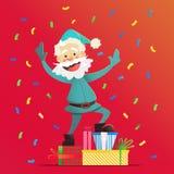 Nette Santa Claus mit Geschenken Einladung an eine Party Bunter Confetti Für Spaß Lizenzfreies Stockfoto