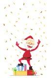 Nette Santa Claus mit Geschenken Einladung an eine Party Bunter Confetti Für Spaß Stockbilder