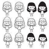 Nette schöne elegante Karikaturlinie Skizzenformdesign-Zusammenfassungsillustration der Damenmädchen Mädchenfrauen Lizenzfreie Stockfotografie