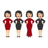 Nette schöne Mädchendamen in den eleganten Kleidern Das festliche Ereignis Unternehmens Zeichentrickfilm-Figur in der flachen Art Lizenzfreie Stockbilder