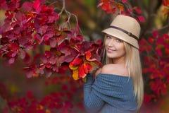 Nette schöne Mädchendamenfrau mit dem blonden Haar im stilvollen Kleid mit dem Hut, der im Herbstwald steht Lizenzfreies Stockfoto