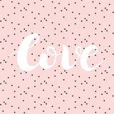 Nette schöne Typografie auf rosa Hintergrund mit schwarzen Flecken, Hand gezeichnete Wort Liebe Moderne Kalligraphie des handgema Lizenzfreie Stockfotografie
