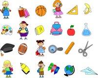 Nette Schüler und Schulmädchen, Vektor Lizenzfreie Stockfotos
