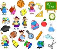 Nette Schüler und Schulmädchen, Vektor Stockfotografie