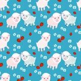 Nette Schafe auf blauem Hintergrundmuster stock abbildung