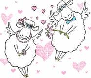 Nette Schafe in der Liebe Stockfotografie