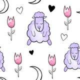 Nette Schafe Nahtloses Muster des Vektor-Aquarells stock abbildung