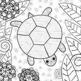 Nette Schildkröte in der erwachsenen Malbuchseite des Gartens Stockfoto