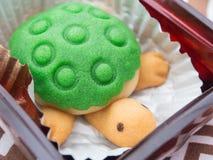 Nette Schildkröte geformter Kuchen Stockfoto