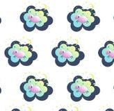 Nette Schlafenschaf-Vektorillustration Nahtlos über Schlaf, Traum oder entspannen Sie sich, Babyschlaf Vektor Abbildung