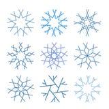 Nette Schneeflockensammlung lokalisiert auf weißem Hintergrund stock abbildung